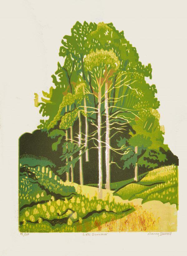 wood block print of green trees in a valley