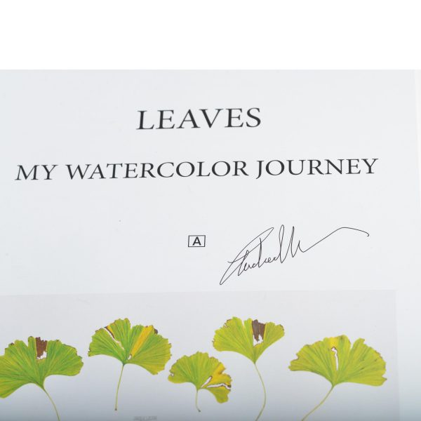 signed page of leaves, my watercolor journey by andrea wilson. ginko leaves hand painted