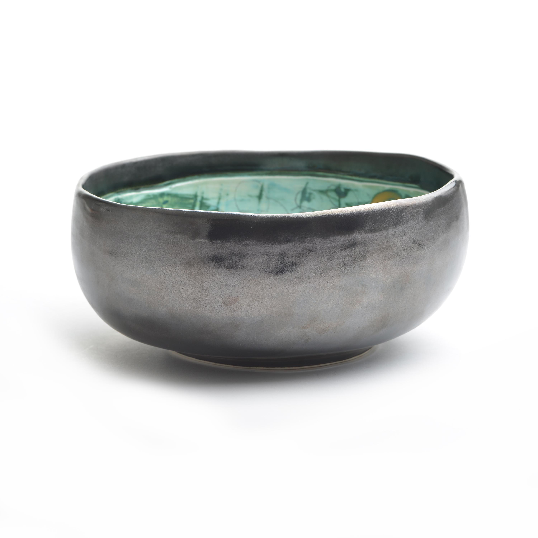 Black And Green Ceramic Serving Bowl Southern Highland Craft Guild