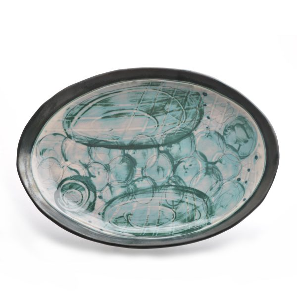 oval handmade plate, green and gray hand painted decortaion with black glazed rim