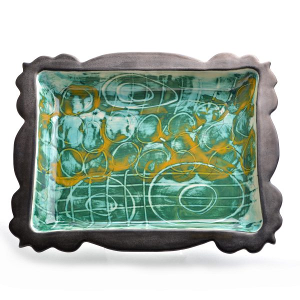 handmade pottery rectangle platter with scalloped edges and green and yellow glazes