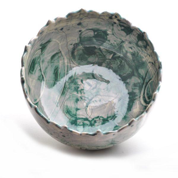 wheel thrown handmade ceramic serving bowl, gray and green bowl with hand drawn decoration, cut rim