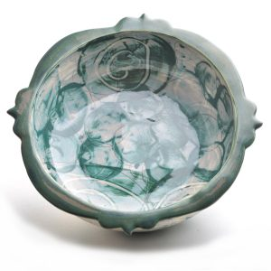 top view of gray and green wheel thrown handmade bowl with green rim, nc pottery,