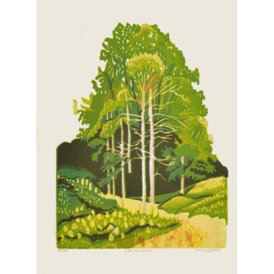 green handmade wood cut with green trees in late summer