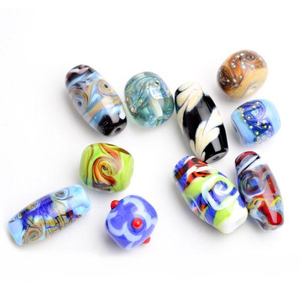 lampworked glass beads, handmade glass beads, hippy beads, glass artist