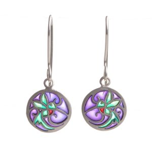 handmade small round stained glass hummingbird earrings, sterling silver and pique a jour purple green and red jewelry earrings,