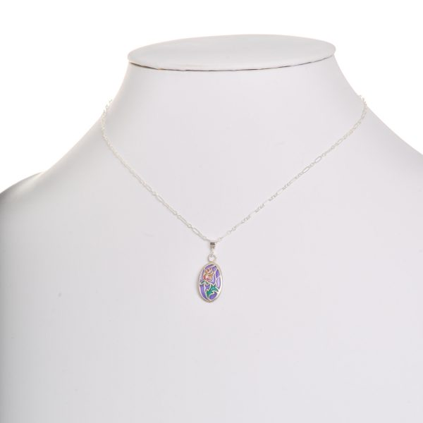 handmade stained glass rose necklace, sterling silver and pique a jour purple green and red necklace,