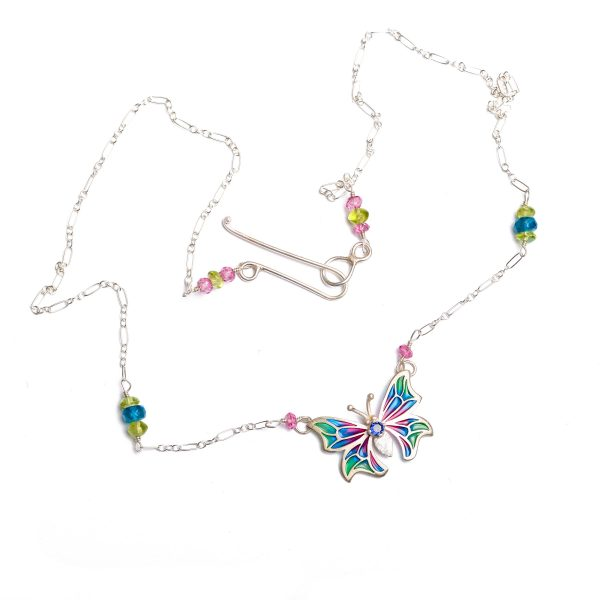 handmade stained glass enamel necklace with butterfly colorful wings with accent gems on silver chain, pink blue and green butterfly necklace