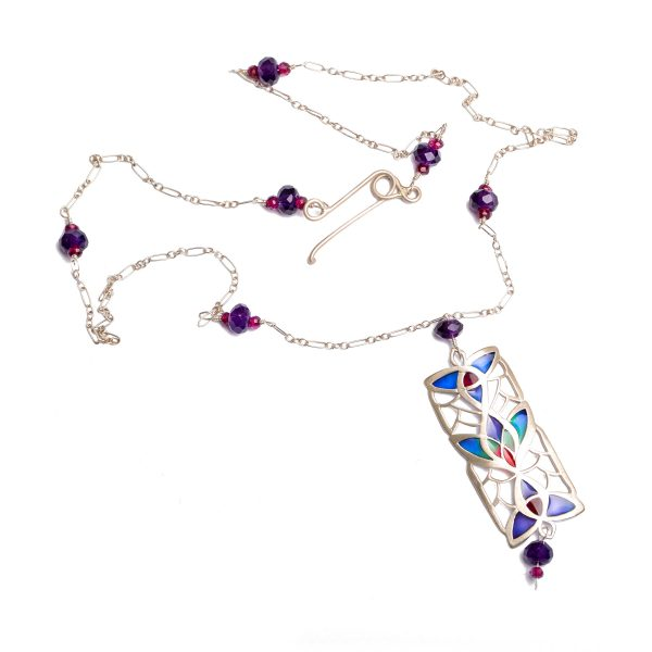 handmade sterling silver and enamel art nouveau flower necklace pendant, purple blue and red enamel with purple and red gemstone accents on silver chain