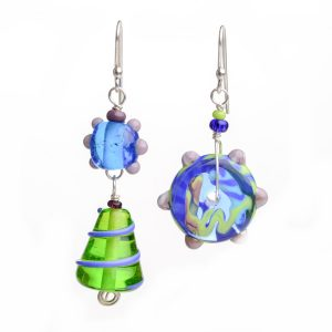 asymmetrical blue and green glass handmade earrings, funky glass jewelry