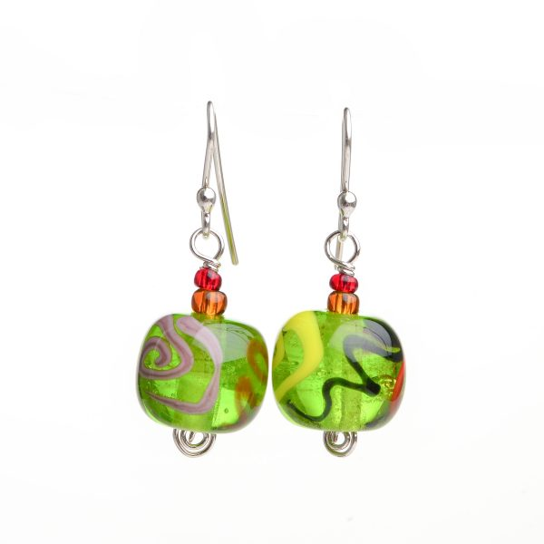 bright green handmade glass bead earrings, old lady earrings