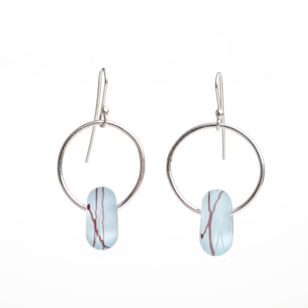 silver and light blue glass earrings, handmade unique glass earrings, nc glass artist, nc glass blowing, jewelry on sale