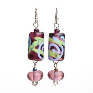 purple lamp-worked handmade earrings, long fancy glass earrings, asheville glass blowing