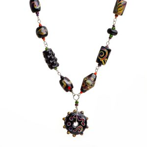 black and purple lampworked bead necklace,
