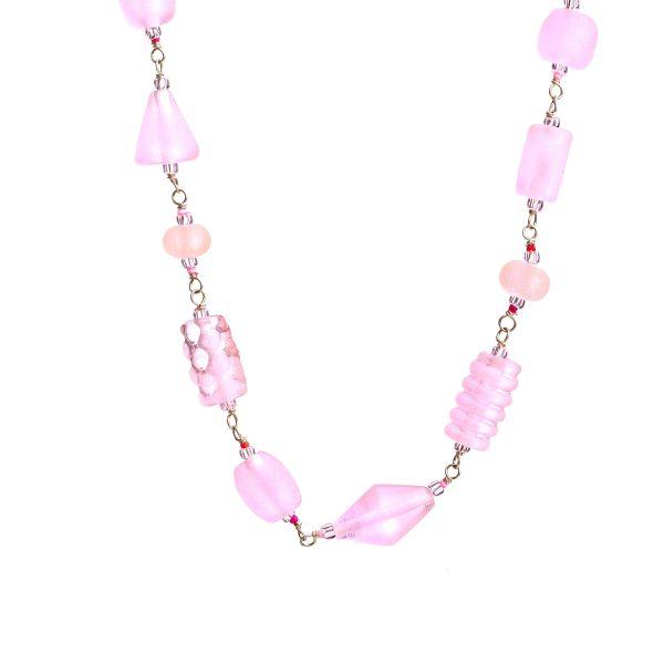 light pink handmade glass bead , sandblasted matte beads