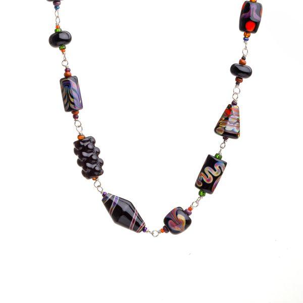 black and purple glass bead necklace, handmade glass bead jewelry, georgia glass artist, female glass artist, heavy jewelry