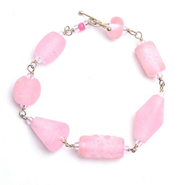 pink lampworked glass bead bracelet,