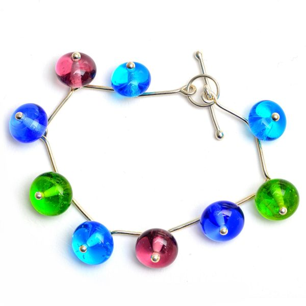 blue green purple handmade glass bead bracelet, colorful glass bead jewelry, georgia glass artist, ga glass artist