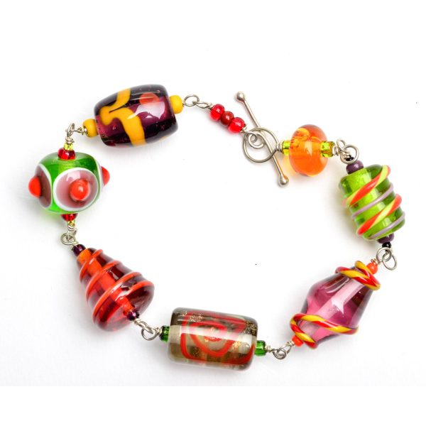 fall colored glass beads, yellow green orange and red handmade glass beads