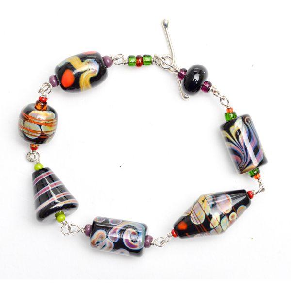 black multicolored glass bead jewelry, handmade glass beads, georgia glass artist, ga glass blowing