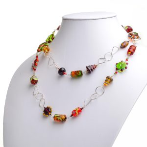 extra long glass necklace, glass bead extra long double up necklace, warm colored necklace, glass and silver jewelry, ga glass artist, lampworked glass beads