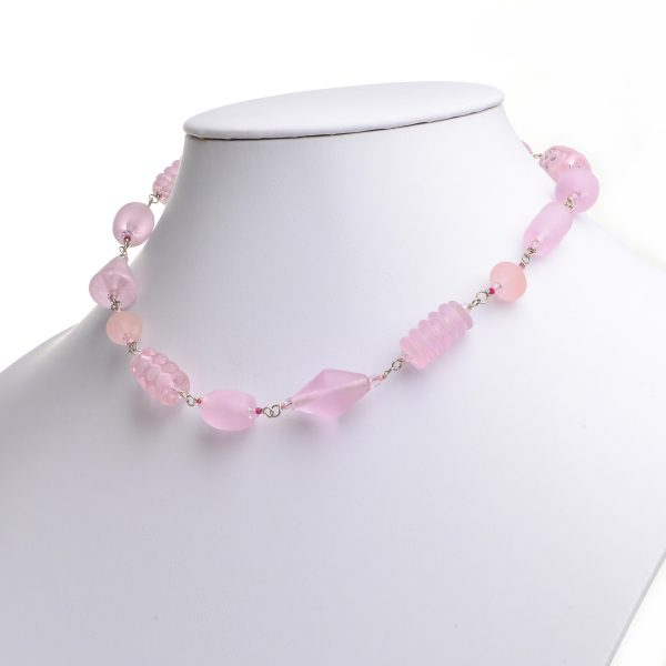 pink glass necklace, girly necklace, handmade lampworked glass beads, sale jewelry