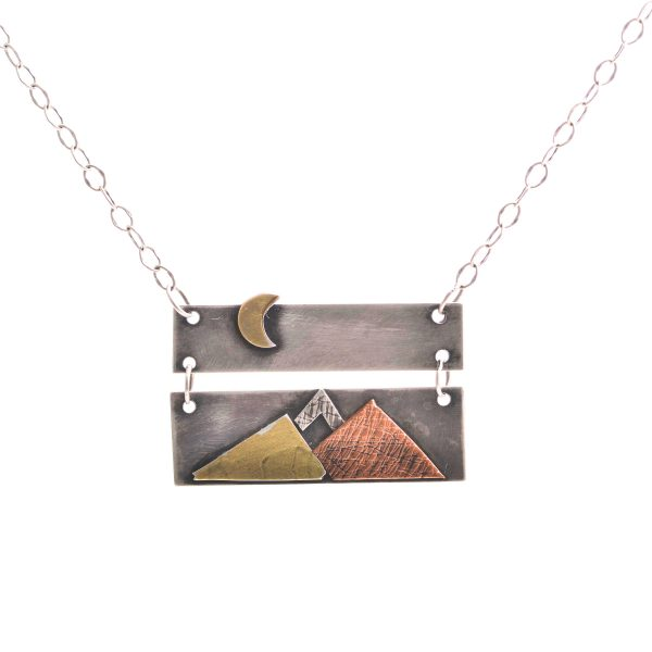2 piece handmade mixed metal silver and gold necklace with mountain scene