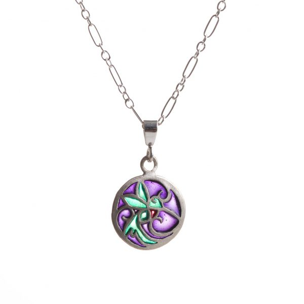 handmade small round stained glass hummingbird necklace, sterling silver and pique a jour purple green and red jewelry necklace,