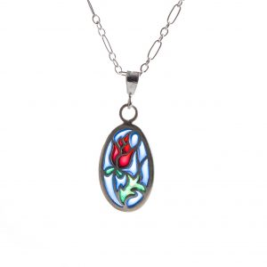 handmade stained glass rose necklace, sterling silver and pique a jour blue green and red necklace, rosebud, love jewelry, red rose jewelry