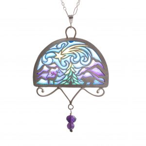 large handmade transparent stained glass mountain necklace with deer bear tree mountains and shooting star, plique a jour mountain necklace, purple blue yellow and green