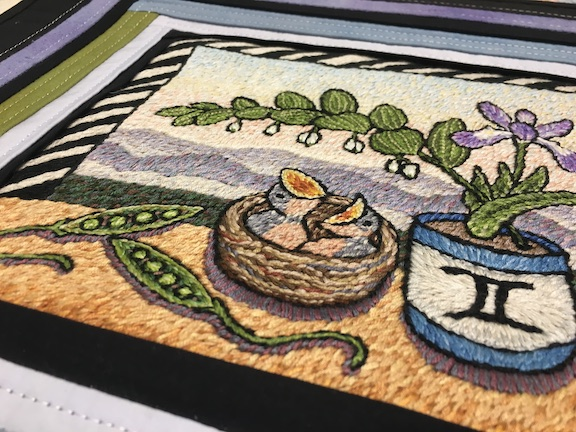 embroidered still life, embroidery thread artist, southern craft