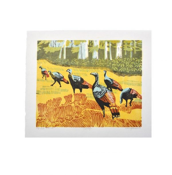 colorful wood print of turkeys in a field, fall wall art, country print, asheville printmaker, traditional southern crafts, nc crafts gallery