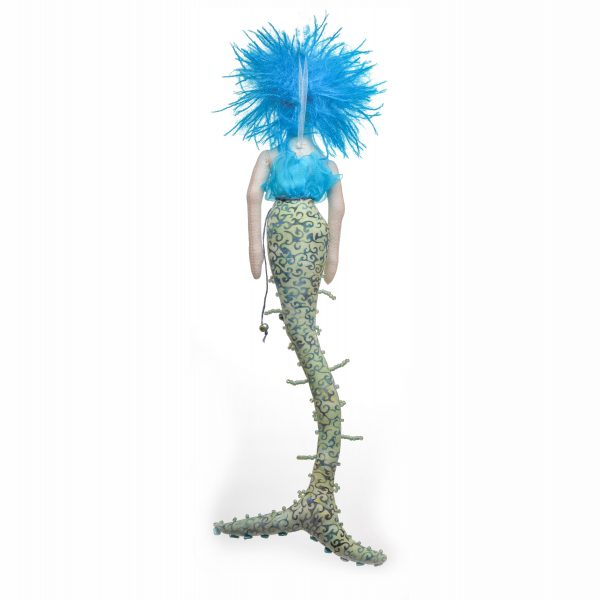 back view of blue handmade mermaid doll with bead accent