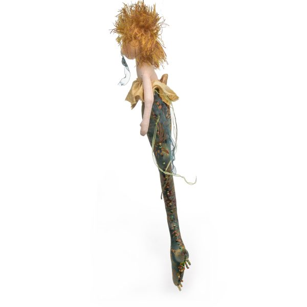 side view of mermaid doll for the wall, handmade mermaid doll, mermaid room decor, fantasy decor, whimsical craft