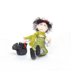 cute boy elf doll, handmade holiday doll, snowball elf, wnc dollmaker, nc fiber artist