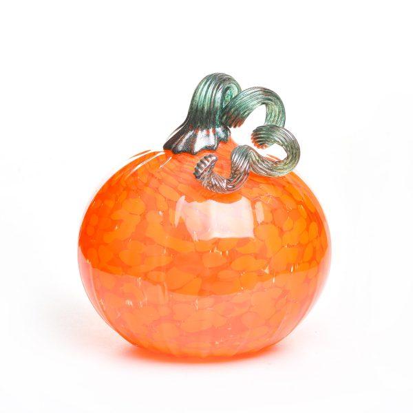 nc glass blowing, asheville glass artist, orange handmade glass pumpkin, halloween decor,