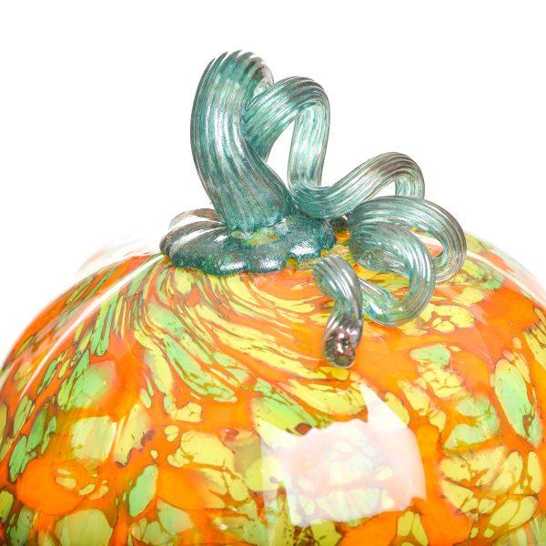 detail of glass pumpkin stem, unique pumpkin decor, weaverville glass, new morning gallery