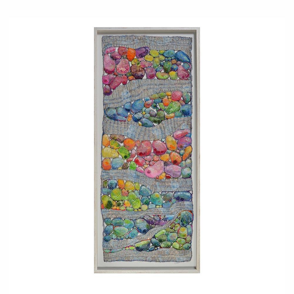mixed media fiber tapestry with found objects, found object art, zen art, nc fiber artist, folk art center