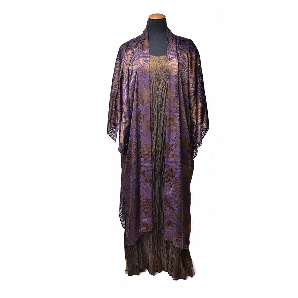 hand dyed devore silk cover, handmade silk dress, nc fiber artist
