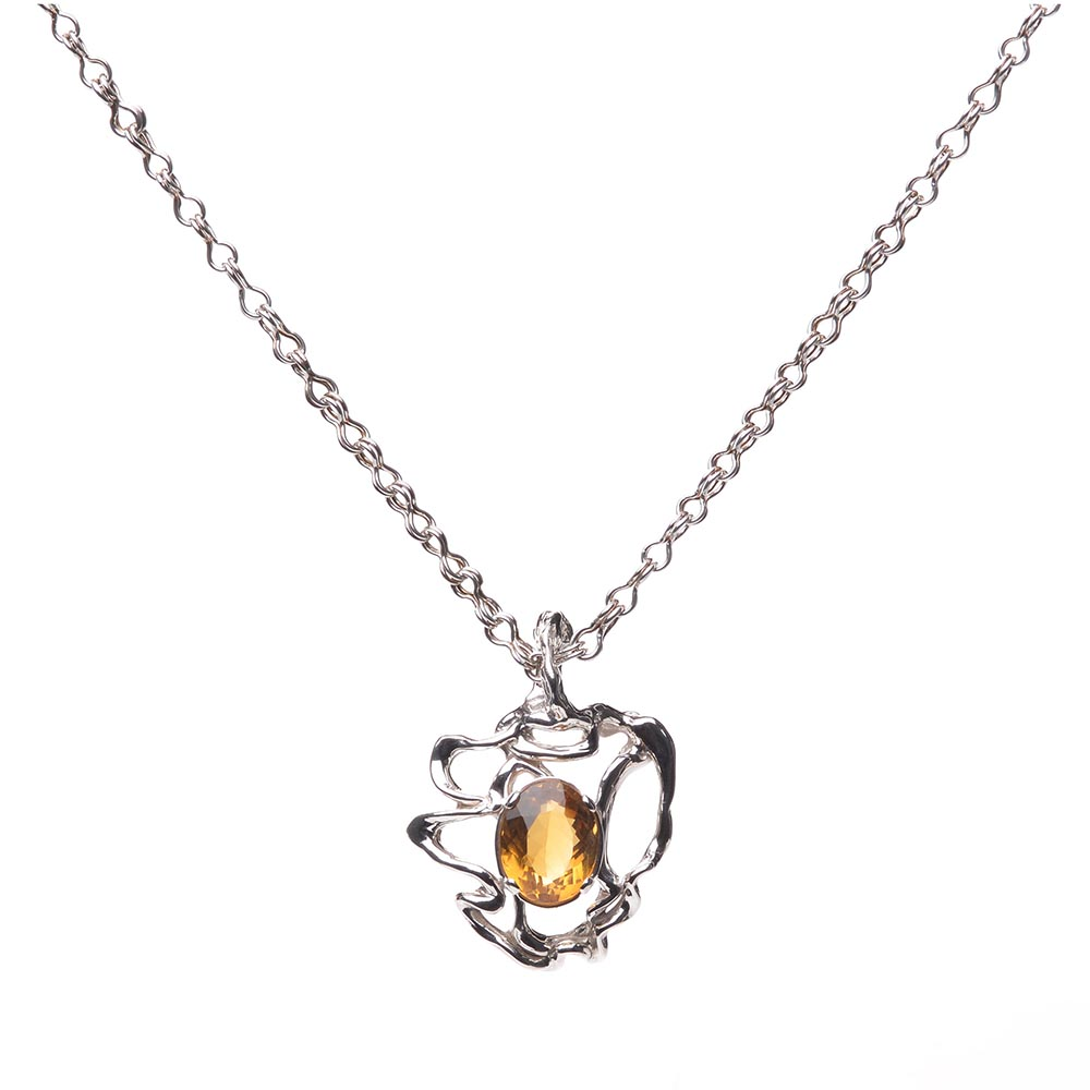 handcrafted citrine necklace, organic jewelry, nc jeweler, nc craft show, yellow citrine stone necklace