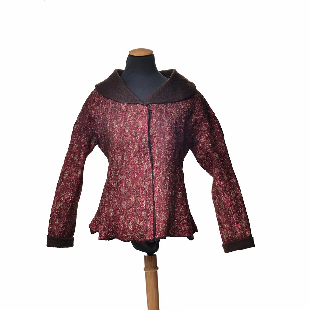 handmade fabric coat red with brown inside with large color, handmade jacket, asheville fiber artist, nc fiber
