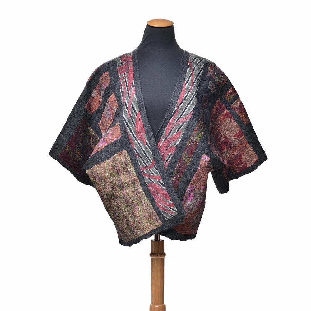 handmade kimono coat, boxy pink and gray coat