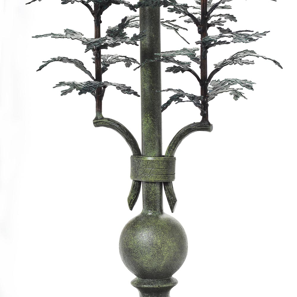 detail of forged steel cedar lamp, mountain home lamp, handmade high end room decor