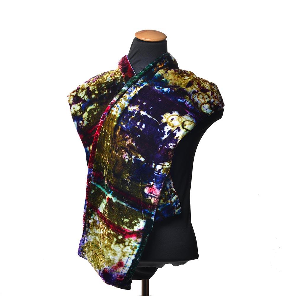 colorful velvet scarf, handmade winter scarf, velvet colored scarf