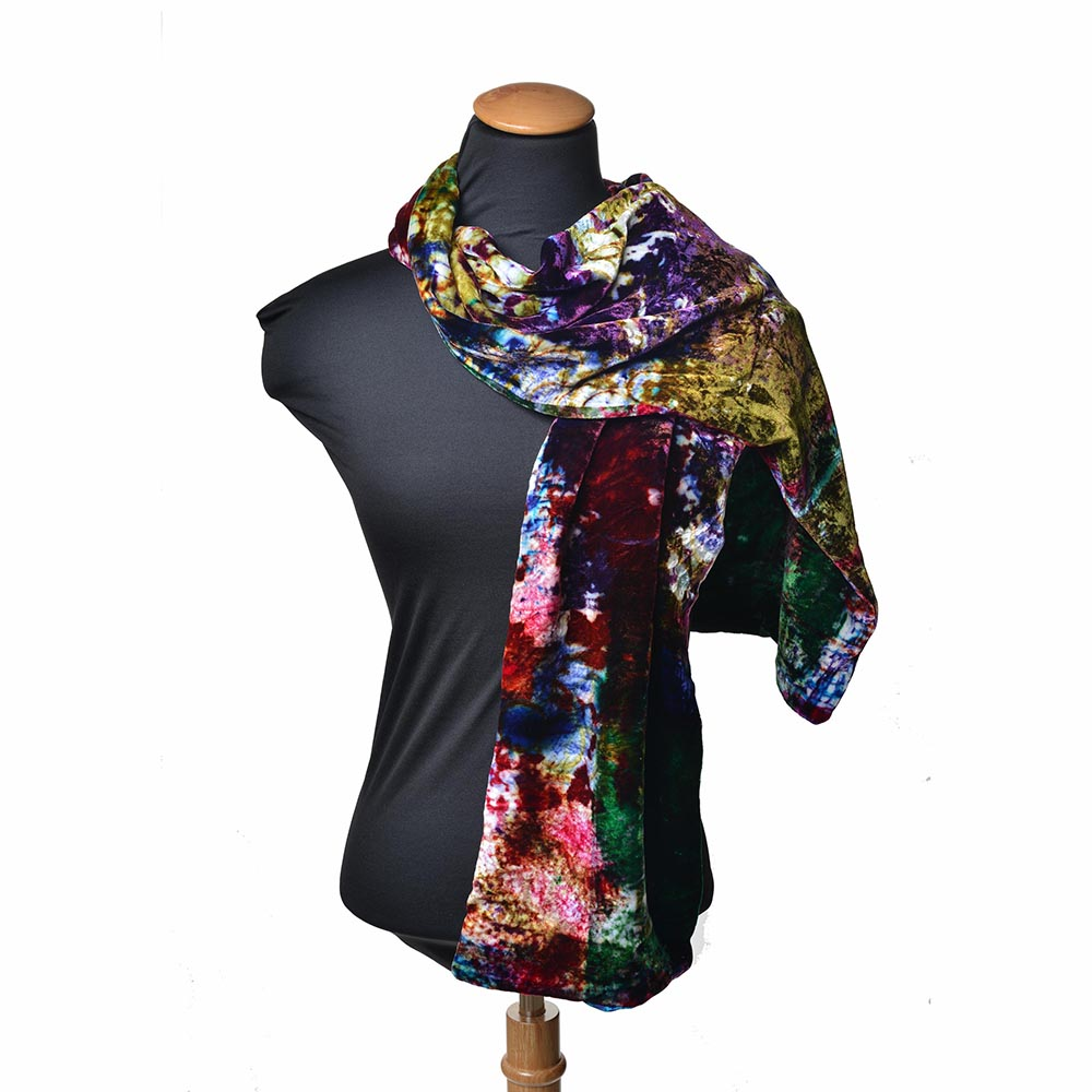hand painted velvet scarf, tie dyed scarf, fiber artist