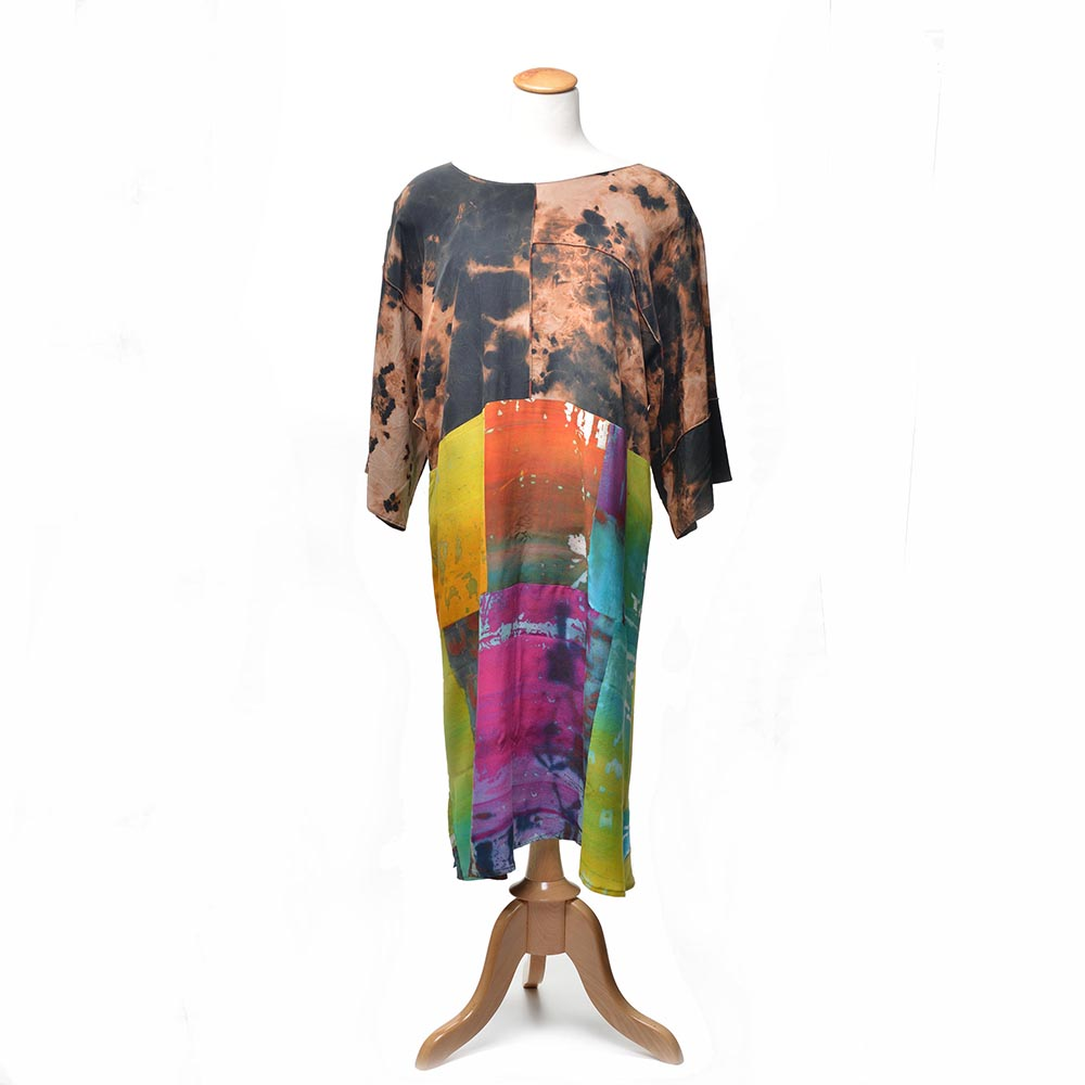 hand dyed and hand painted tunic dress, handmade silk clothing, asheville fiber artist, asheville quilt show