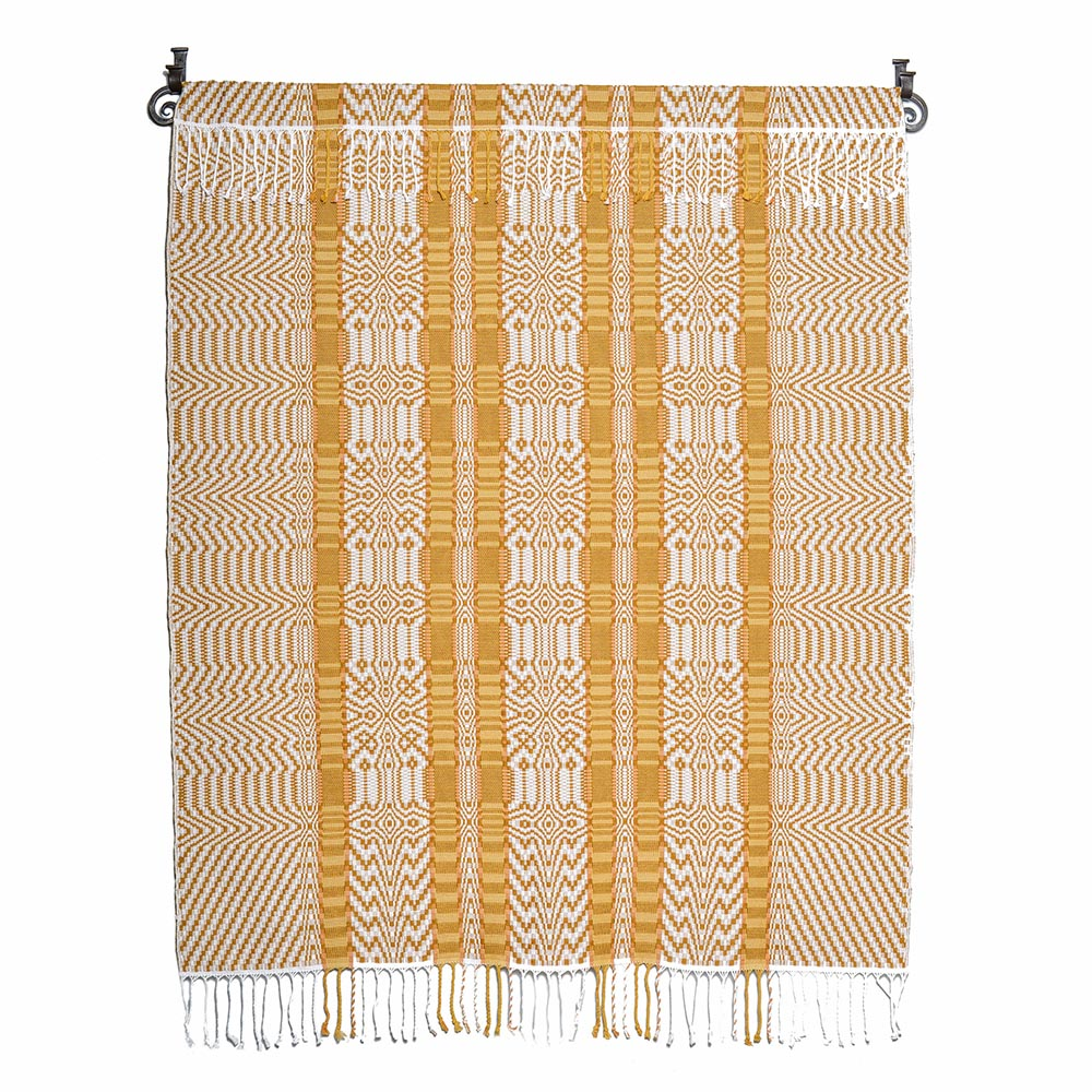 yellow and white handwoven wall hanging, nc weaver, traditional weaving