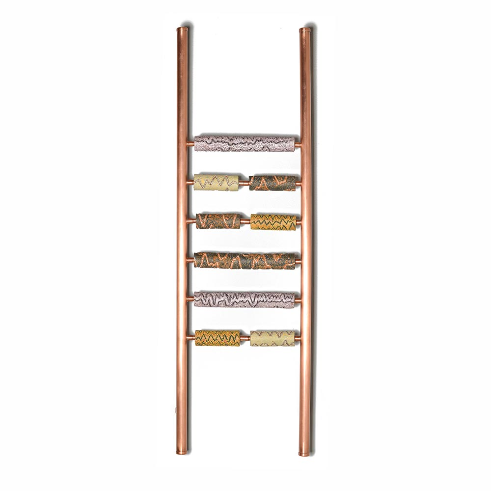 copper and clay ladder sculpture with muted colors, asheville clay sculptor