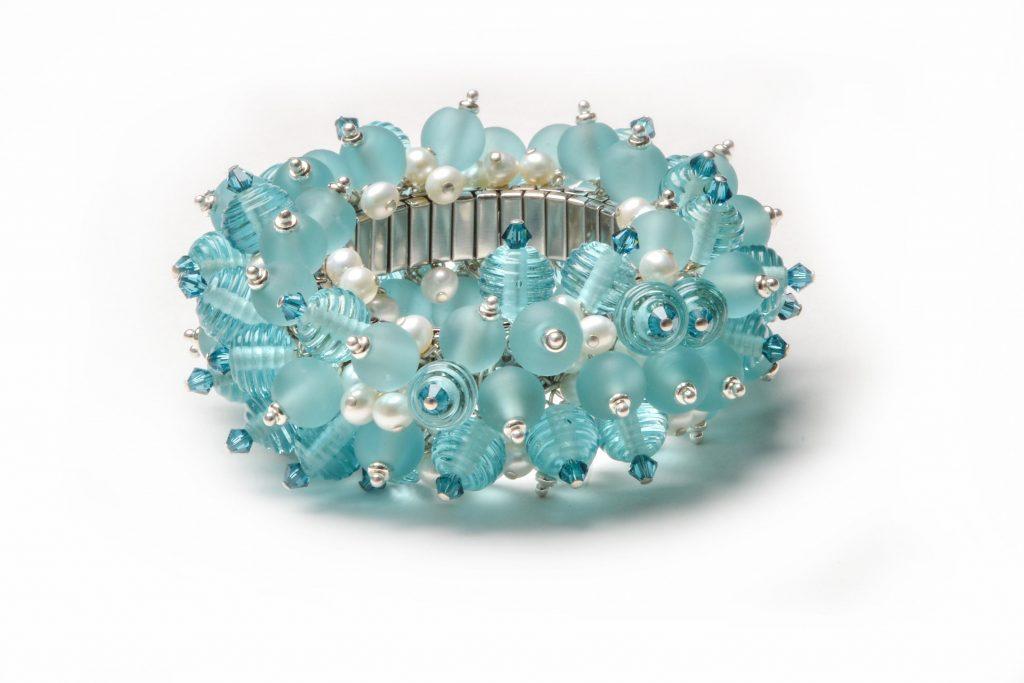 mason jar glass, antique mason jar, blue glass, stretchy bracelet, nc glass artist, lamp-working jewelery
