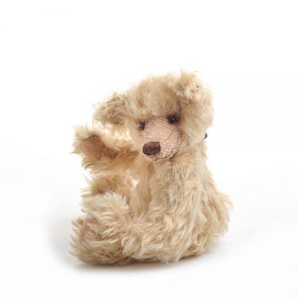 waving teddy bear, mohair teddy bear, handmade stuffed animals, family heirloom bear, beanie babies, boyd bears, collectible bears, nc fiber artist, folk art center bear